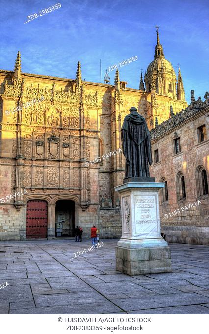 The focal point of the university's architecture is its façade, a plasteresque masterpiece made from Villamayor stone and which overlooks the Fray Luis de Leon...