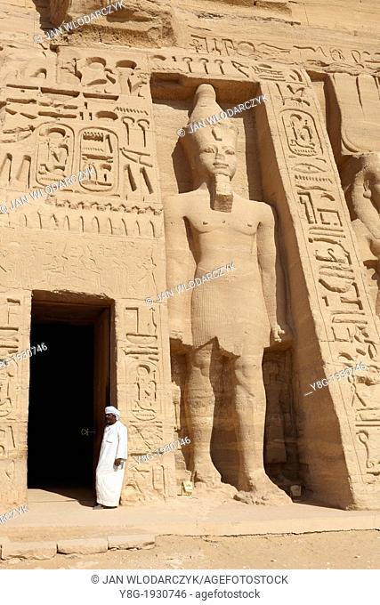 Abu Simbel, Egypt - the entrance to the Nefertari Temple, Abu Simbel temple complex located on the Nasser Lake, Lower Nubia, Egypt