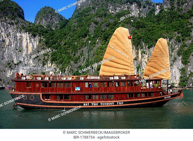 Tourist boat in Halong Bay, Vietnam, Asia