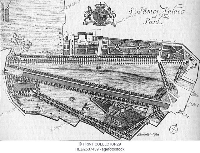 Plan of St James's Palace and Park in the time of Charles II, c1700 (1878). Artist: Unknown