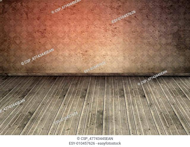 Empty room with dirty floorboards