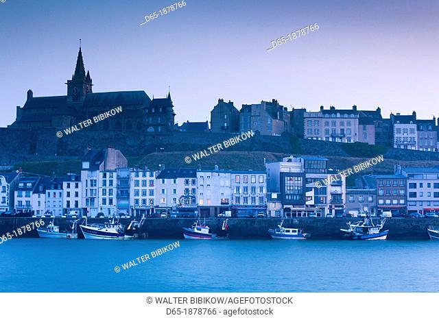 France, Normandy Region, Manche Department, Granville, elevated view of port and Haut Ville, Upper City, dawn