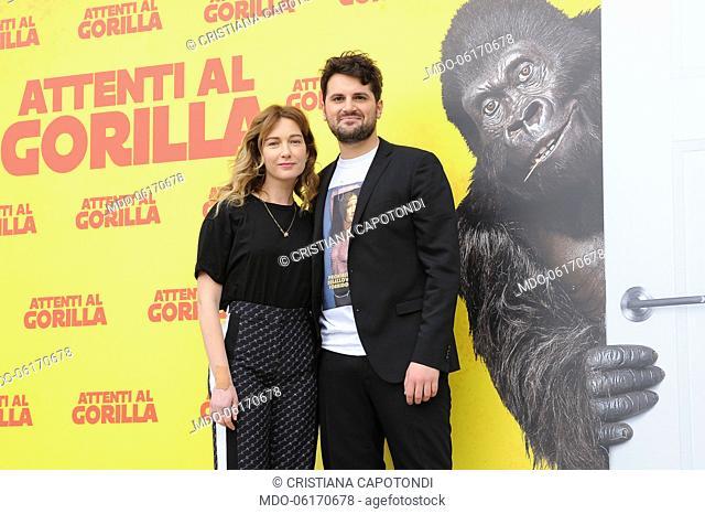 Cristiana Capotondi and Frank Matano during Attenti al Gorilla photocall at The Space Cinema Moderno. Rome, January 8th, 2019