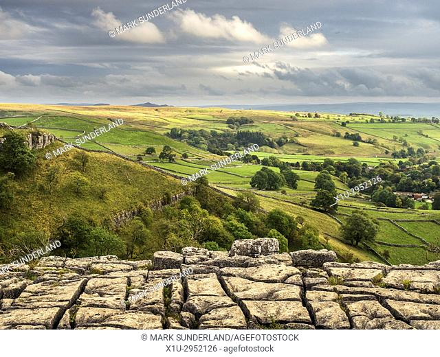 View over Malhamdale from Malham Cove Yorkshire Dales England