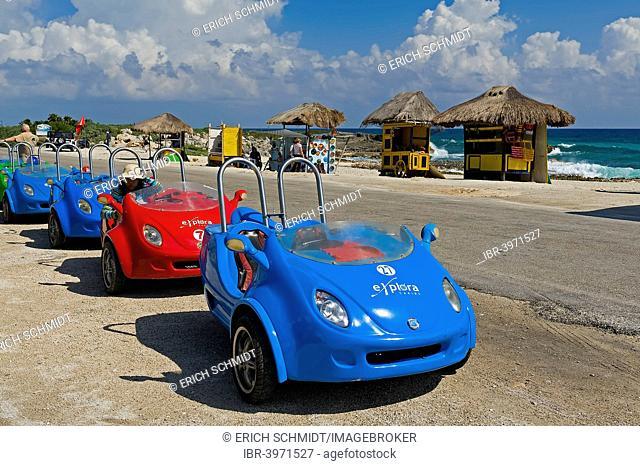 Beach vehicles on the beach, Cozumel Island, Quintana Roo, Mexico