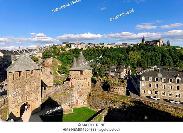 France, Ille et Vilaine, Fougeres, the castle and Saint Leonard church
