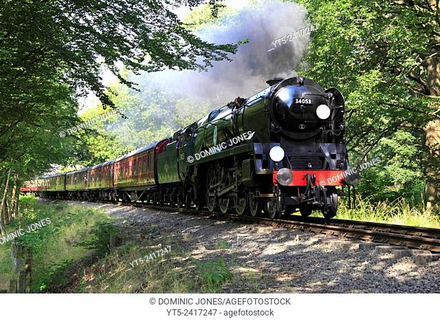 Bulleid Pacific 'Sir Keith Park' thunders through Trimpley on the Severn Valley Railway, Worcestershire, England, Europe