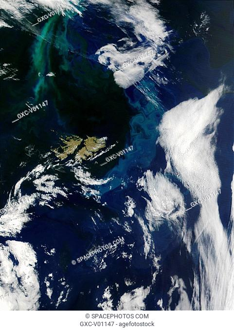 To the north and east of the Falkland Islands, shown here just to the left of center, the South Atlantic Ocean is vibrant with color