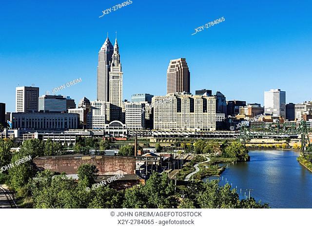 City skyline and the Cuyahoga River, Cleveland, Ohio, USA
