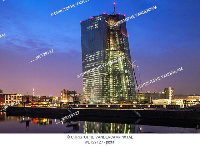 Future European Central Bank ECB being built along the Main river in Frankfurt, Germany