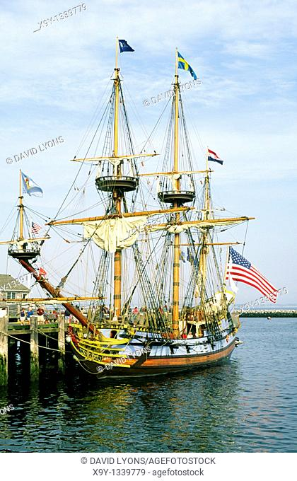 Cape Cod, New England  Tallship old sailing ship name of Kalmar Nyckel in Provincetown Harbor, Massachusetts, USA