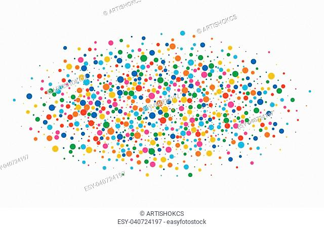 Colorful bright rainbow colors oval cloud confetti round papers isolated on white background. Birthday template and Holiday design element