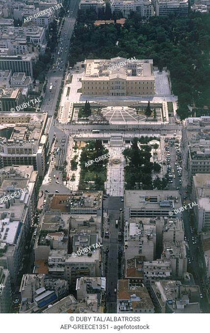 Aerial photograph of the Syntagma Square and the Greek parliament in Athens Greece