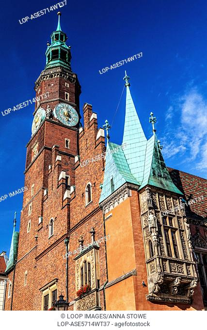 The south-west corner of the neo-Gothic Town Hall or Ratusz in Wroclaw's market Square