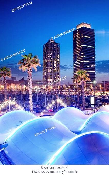 Port Olimpic at Night in Barcelona