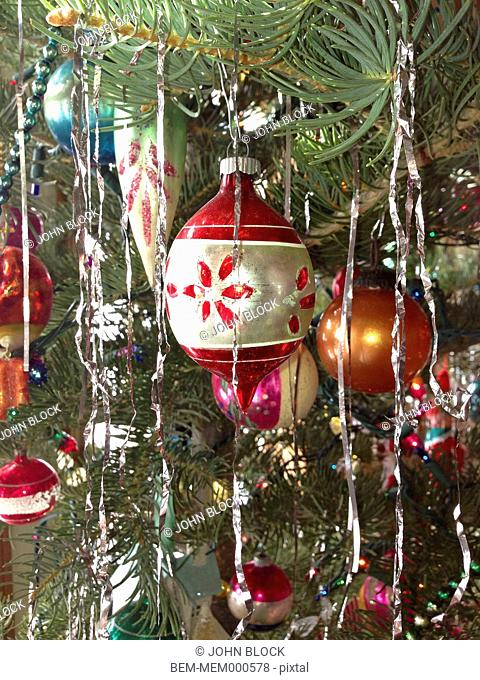 Tinsel and decorations on Christmas tree