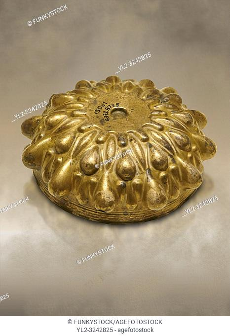 Phrygian Gold bowl with deeply beated design from Gordion. Phrygian Collection, 8th-7th century BC - Museum of Anatolian Civilisations Ankara. Turkey