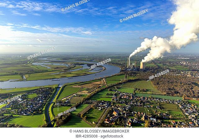 Emschermündung, River Emscher and Rhine, coal power plant, Dinslaken, Ruhr district, North Rhine-Westphalia, Germany