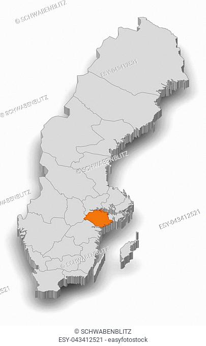 Map of Sweden as a gray piece, Soedermanland County is highlighted in orange