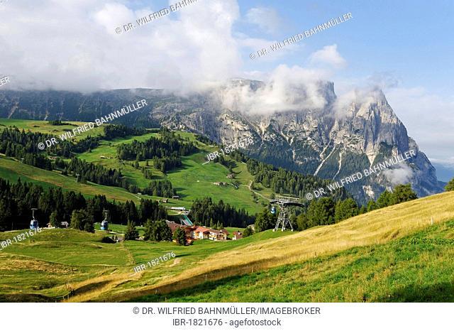 Seiser Alm alpine pastures with Schlern Mountain, Alto Adige, Italy, Europe