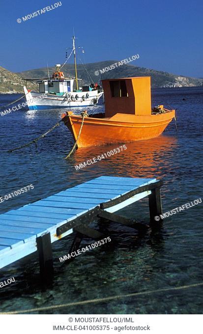 Chrysomilia, fishing boats Greece: N  E  Aegean: Fourni