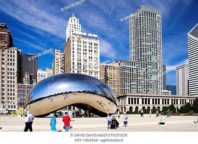 Anish Kapoor's walk through Cloud Gate sculpture in Chicago's Millennium Park, Illinois