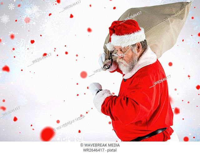 Santa claus walking with gift sack