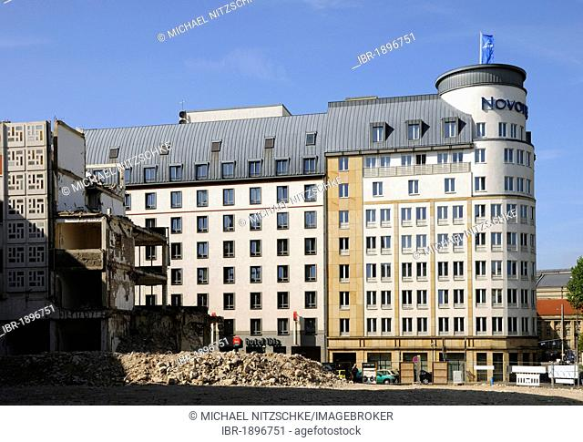 Novotel Hotel with a building site in front, Leipzig, Saxony, Germany, Europe