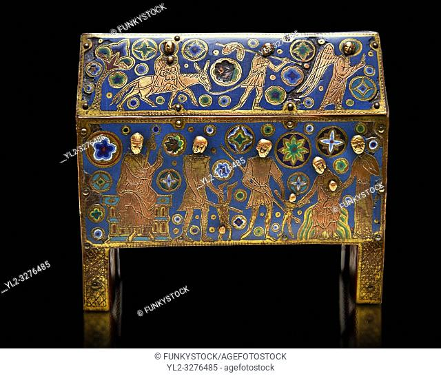 Gothic chest decorated with the Slaughter of the Innocents from Limoges Circa 1210-1220. Engraved copper with inlaid enamel enamel champlevé and glass on wooden...
