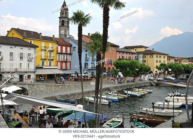Switzerland: Scenic Ascona City Harbour at Lake Langensee in Ticino with Restaurant 7 in canton Ticino