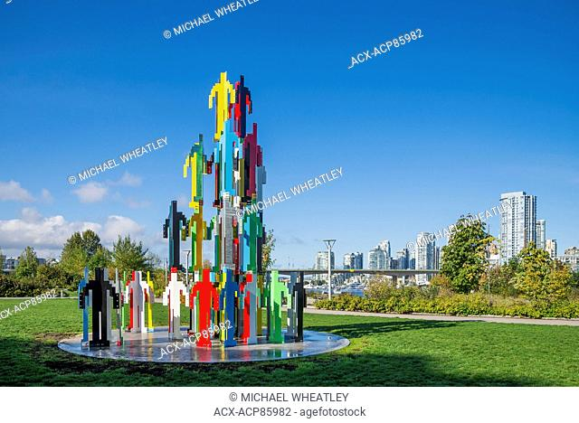 Human structures Vancouver, a structure by Jonathan Borofsky, Hinge Park, Vancouver, British Columbia, Canada