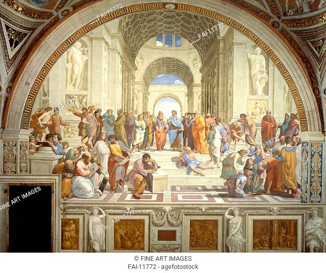 The School of Athens. Stanza della Segnatura. Raphael (1483-1520). Fresco. Renaissance. 1509-1511. Apostolic Palace, Vatican. 500x770. Painting