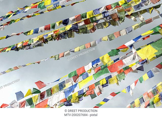 Low angle view of prayer flags at Swayambhunath temple, Kathmandu, Nepal