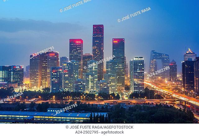 China, Beijin City, Guomao District skyline, East second ring road, CCTV Headquarters Bldg