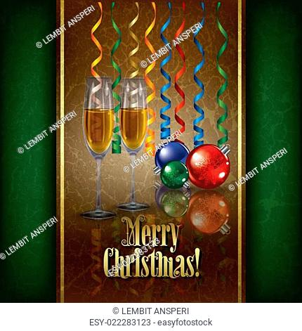 Christmas grunge greeting with champagne and decorations