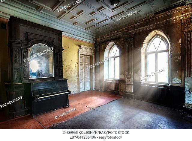 Light shone through windows of very old room
