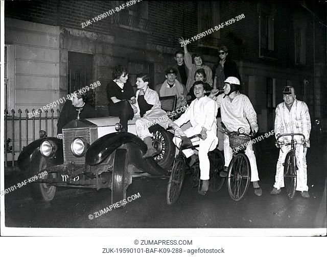 Jan. 01, 1959 - It's fun to be young: Pedaling his cycle into Sloane Square yesterday wearing pale blue pyjamas came Lord Valentine Thynne