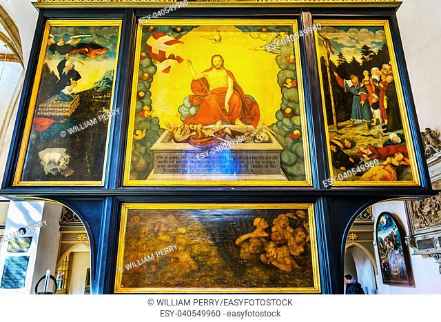 Cranach Christ Altarpiece Painting Saint Mary's City Church Stadtkirche Lutherstadt Wittenberg Germany. Martin Luther's church. Founded in 1187