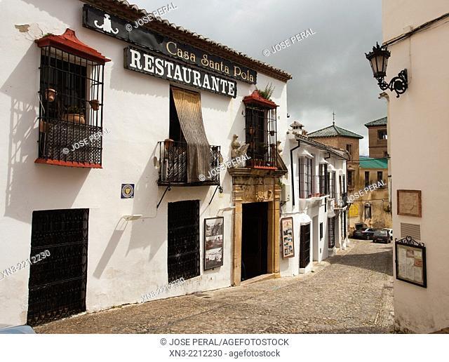 Restaurant Santa Pola, on background Palacio del Rey Moro or Casa del Rey Moro Palace or House of the Moorish King, Cuesta de Santo Domingo street, Ronda