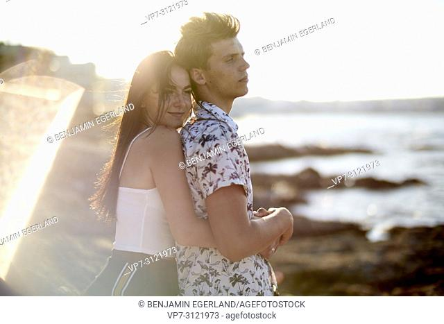 Lovers at seaside. Chersonissos, Crete, Greece