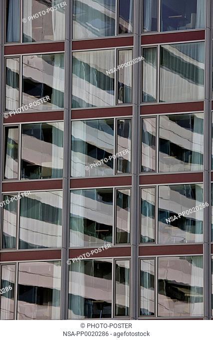 Mirroring in a modern glass window in Dresden
