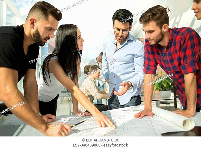 architect discusses the project with the business team.the concept of professionalism