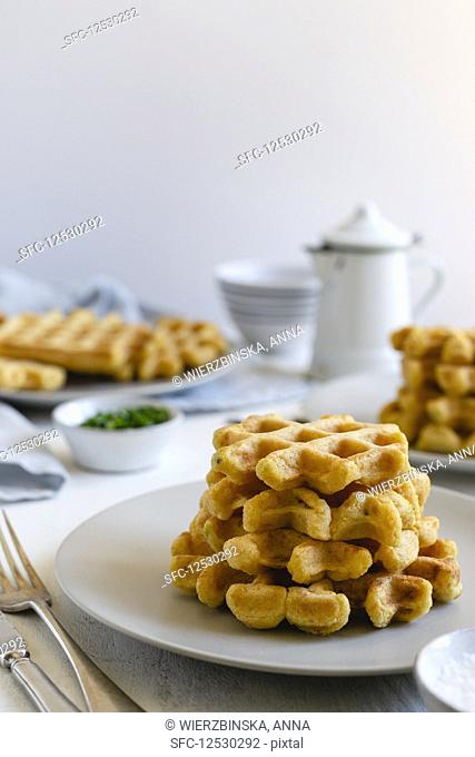 Stack of sweet potato waffles on a plate