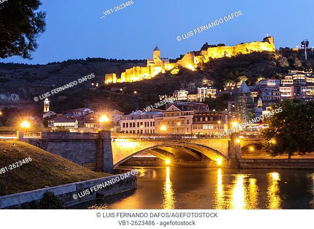 Nariqala fortress illuminated at night, Tbilisi, Georgia
