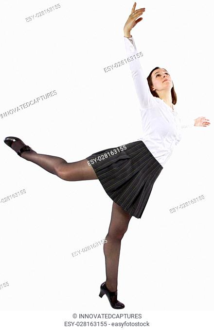 dancing student or businesswoman in a ballet form