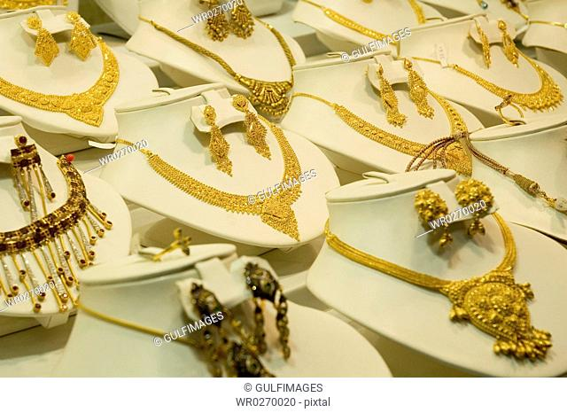 View of a gold jewelry seen from the store