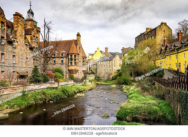 View of Water of Leith river at Dean Village in Edinburgh, Scotland, United Kingdom