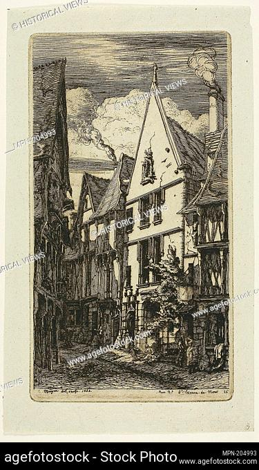 Rue des Toiles, Bourges - 1853 - Charles Meryon French, 1821-1868 - Artist: Charles Meryon, Origin: France, Date: 1853, Medium: Etching and drypoint on verdâtre...