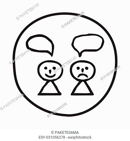 Doodle Happy and Sad person icon. Infographic symbol in a circle. Line art style graphic design element. Web button. Different views on life, opinions concept
