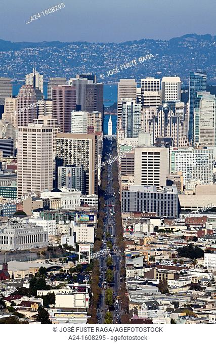 Downtown skyline and Market Street, San Francisco, California, USA